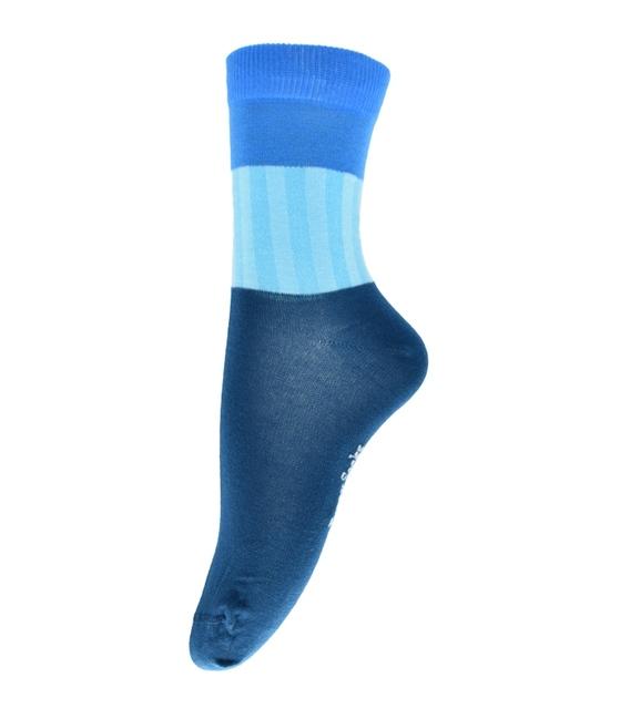 جوراب فانی ساکس ساق بلند طرح سه رنگ آبی کد 714