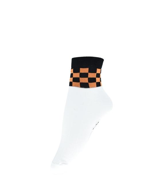جوراب فانی ساکس نیم ساق طرح شطرنجی سفید مشکی کد 820