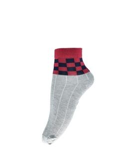 جوراب فانی ساکس نیم ساق طرح شطرنجی خاکستری قرمز مشکی کد 820