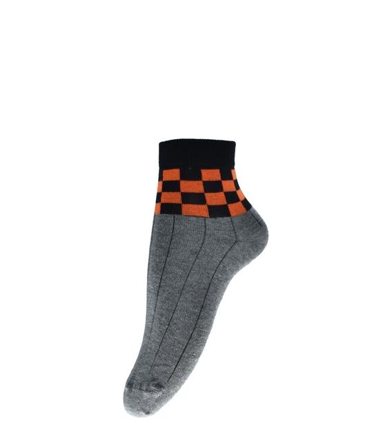 جوراب فانی ساکس نیم ساق طرح شطرنجی خاکستری مشکی نارنجی کد 820