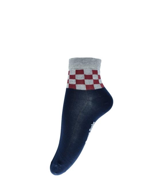 جوراب فانی ساکس نیم ساق طرح شطرنجی سرمهای خاکستری کد 820