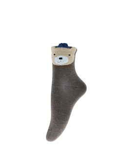 جوراب نیم ساق طرح خرس پشمالو قهوهای