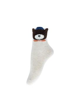 جوراب نیم ساق طرح خرس پشمالو کرم