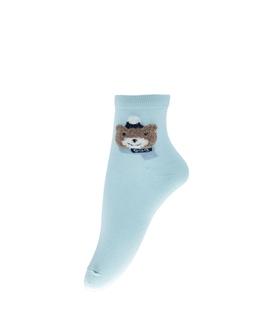جوراب نیم ساق طرح خرس سرمایی سبزآبی