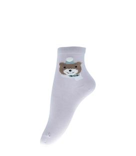 جوراب نیم ساق طرح خرس سرمایی یاسی
