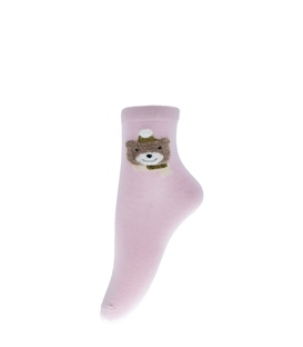 جوراب نیم ساق طرح خرس سرمایی صورتی