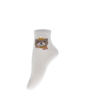 جوراب نیم ساق طرح خرس سرمایی کرم