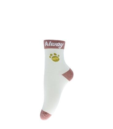 جوراب نیم ساق طرح ردپای برجسته شیری