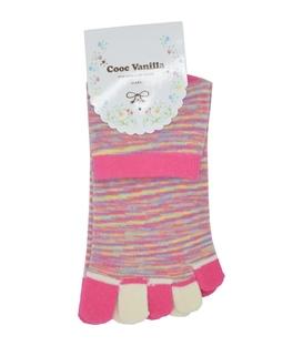 جوراب انگشتی طرح رنگارنگ صورتی