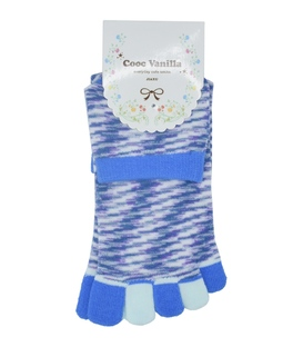 جوراب انگشتی طرح رنگارنگ آبی