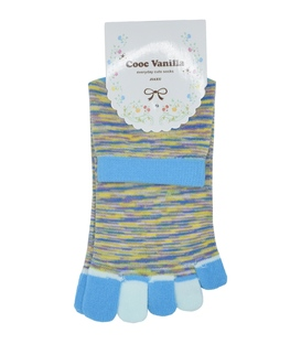 جوراب انگشتی طرح رنگارنگ آبی روشن