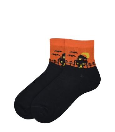 جوراب نیم ساق پاآرا طرح هالووین نارنجی