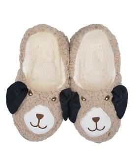 پاپوش پشمی گوش دار فانتزی طرح گوسفند قهوهای
