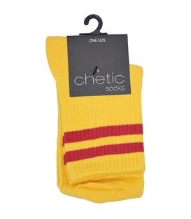 جوراب Chetic چتیک نیم ساق طرح دو خط زرد قرمز
