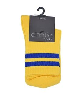 جوراب Chetic چتیک نیم ساق طرح دو خط زرد آبی