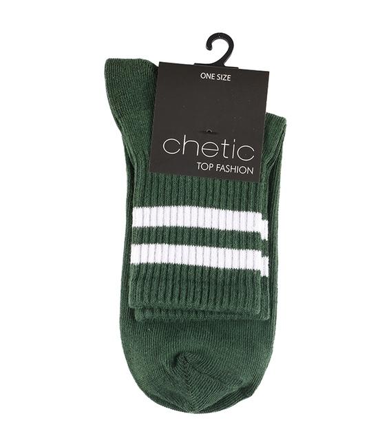جوراب Chetic طرح دو خط سبز سفید