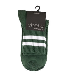 جوراب Chetic چتیک طرح دو خط سبز سفید