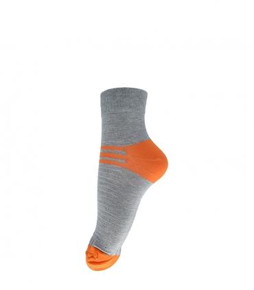 جوراب فانی ساکس نیم ساق طرح سه خط خاکستری نارنجی کد 408