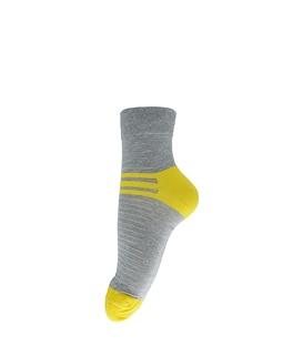 جوراب فانی ساکس نیم ساق طرح سه خط خاکستری زرد کد 408