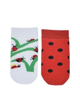 جوراب نانو بچگانه پاآرا طرح کفشدوزک سفید قرمز