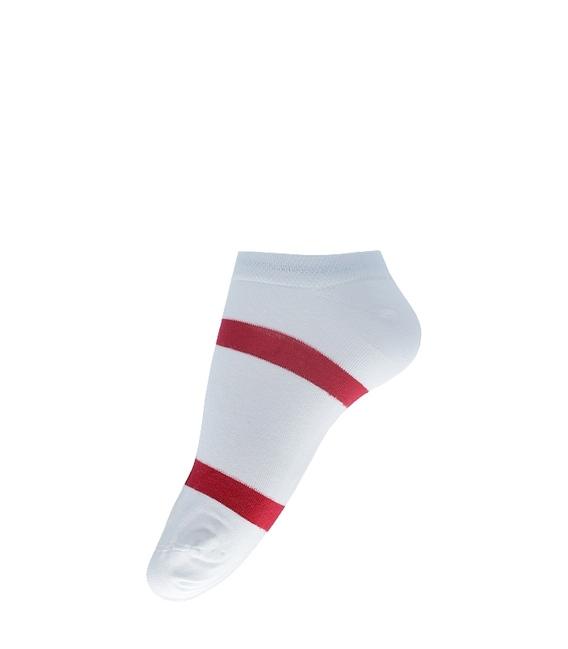 جوراب مچی فانی ساکس طرح دو خط سفید قرمز کد 609