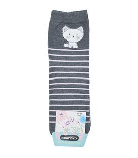 جوراب نیم ساق طرح گربه خاکستری