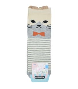 جوراب نیم ساق گوشدار طرح گربه جنتلمن