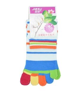 جوراب انگشتی راه راه آبی روشن