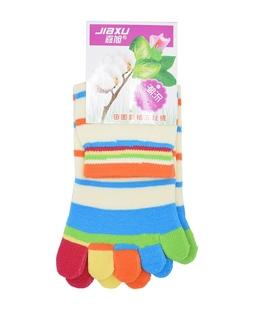 جوراب انگشتی راه راه شیری