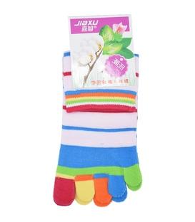 جوراب انگشتی راه راه صورتی روشن