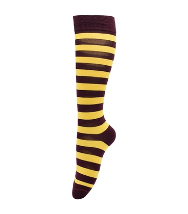 جوراب زیر زانو بوم طرح راه راه زرشکی زرد