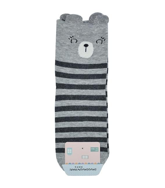 جوراب نیم ساق گوشدار طرح خرس خوابالو راه راه