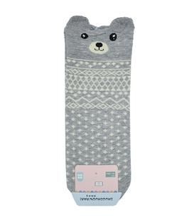 جوراب نیم ساق گوشدار طرح خرس خاکستری سفید