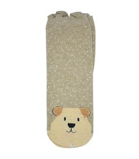 جوراب نیم ساق گوشدار طرح خرس تپل خاکی
