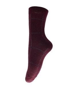 جوراب پشمی طرح چهارخونه زرشکی