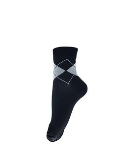 جوراب نیم ساق فانی ساکس طرح لوزی مشکی کد 410