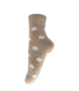 جوراب پشمی طرح خال خال درشت قهوهای