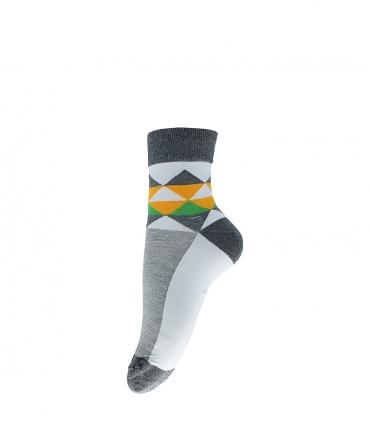 جوراب نیم ساق فانی ساکس طرح مثلث خاکستری سفید کد 413