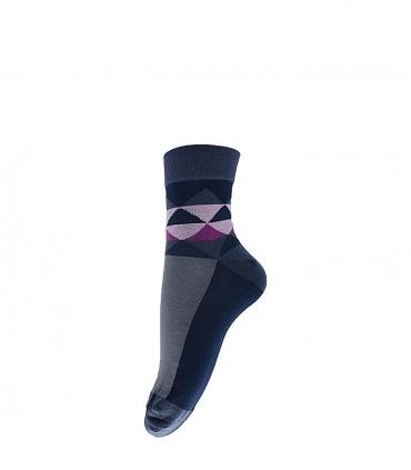 جوراب نیم ساق فانی ساکس طرح مثلث خاکستری صورتی کد 413