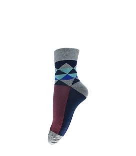 جوراب نیم ساق فانی ساکس طرح مثلث خاکستری آبی کد 413