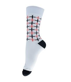 جوراب ساقدار فانی ساکس طرح چهارخونه سفید مشکی کد 134