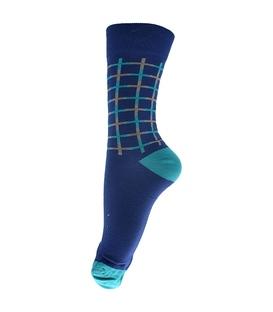 جوراب ساق بلند فانی ساکس طرح چهارخونه بنفش کد 134