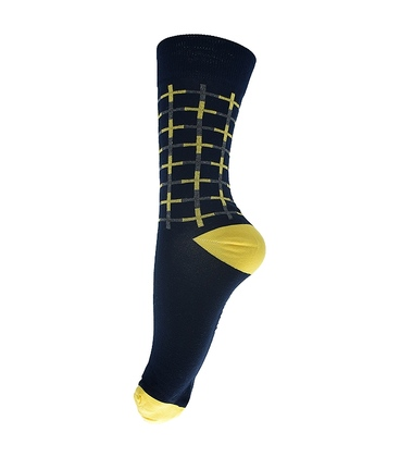 جوراب ساق بلند فانی ساکس طرح چهارخونه سرمهای زرد کد 134