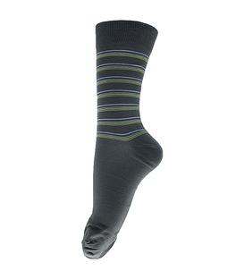 جوراب ساق بلند فانی ساکس طرح راه راه خاکستری آبی کد 150