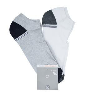 جوراب مچی کف حولهای LC Waikiki خاکستری و سفید - دو جفت