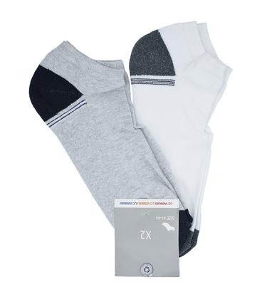 جوراب مچی کف حوله ای LC Waikiki خاکستری و سفید - دو جفت