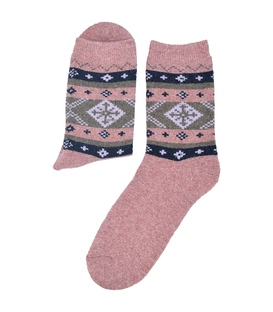 جوراب پشمی Coco & Hana طرح برف صورتی