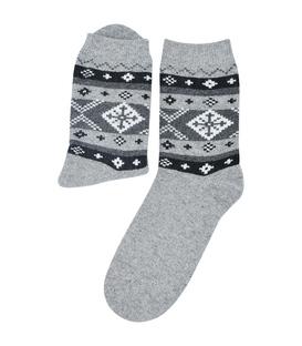 جوراب پشمی Coco & Hana طرح برف خاکستری روشن