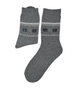 جوراب پشمی Coco & Hana طرح برفی خاکستری تیره
