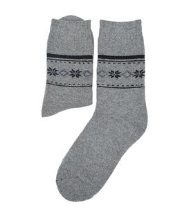 جوراب پشمی Coco & Hana طرح برفی خاکستری روشن